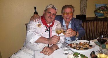 Tony Bennett & Salvatore share a toast of wine